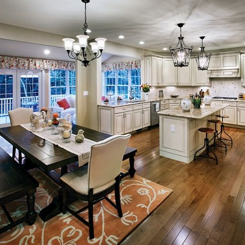 combined kitchen and dining room | Sunroom addition off the kitchen | kitchen | Pinterest ...