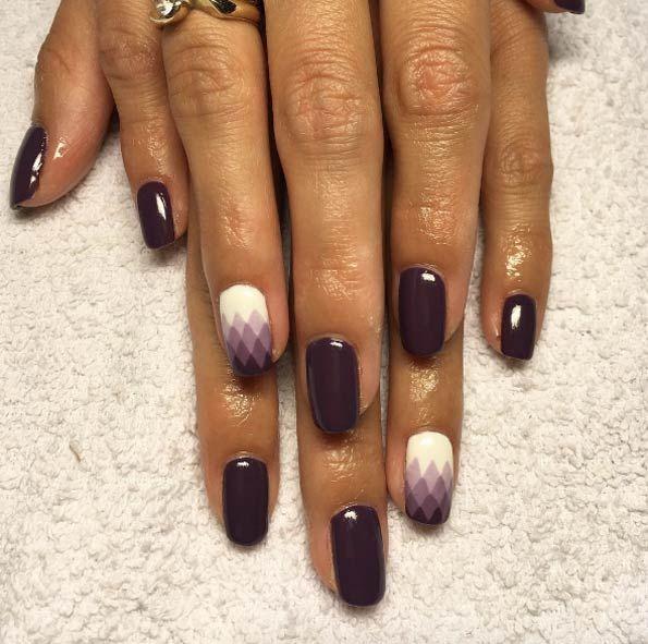 Purple ombre geometric nails by Karolina