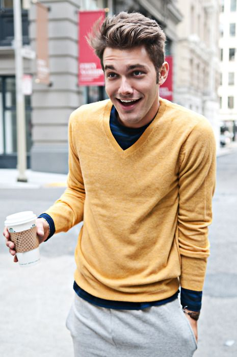 Tan Sweater - VO Magazine: Men Clothing, Colors Combos, Casual Style, Men Hair, Street Style, Men Fashion, V Neck Sweaters, Casual Looks, Mustard Yellow