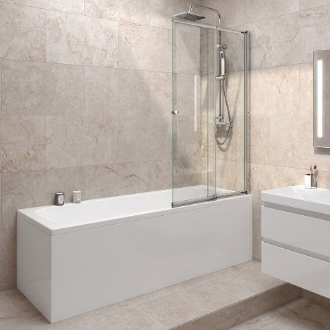 1700mm Straight Bath & Sliding Screen Square Design - soak.com