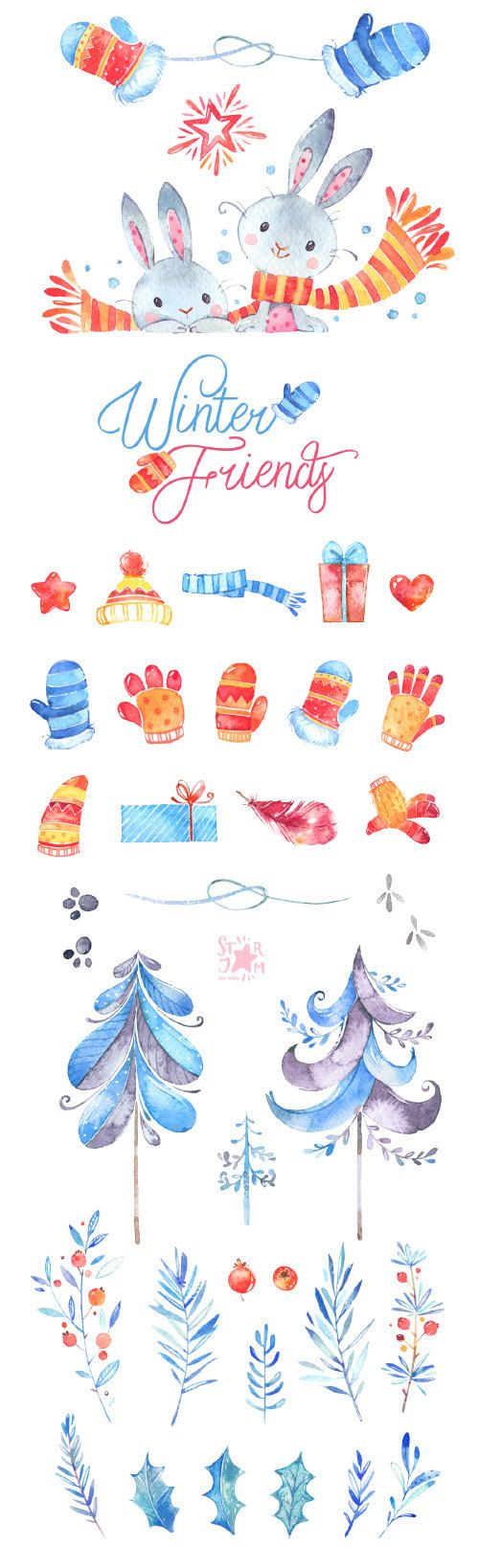 This Great Winter collection is just what you needed for the perfect invitations, Holidays projects, paper products, party decorations, printable, greetings cards, posters, stationery, scrapbooking, stickers, t-shirts, baby clothes, web designs and much more.  ::::: DETAILS :::::  This collection includes 48 images: - 10 Charachters(penguins, fox, bear, birds, mouses, bullfinch) in separate PNG files, transparent background - 38 Different Elements in separate PNG files, transparent…