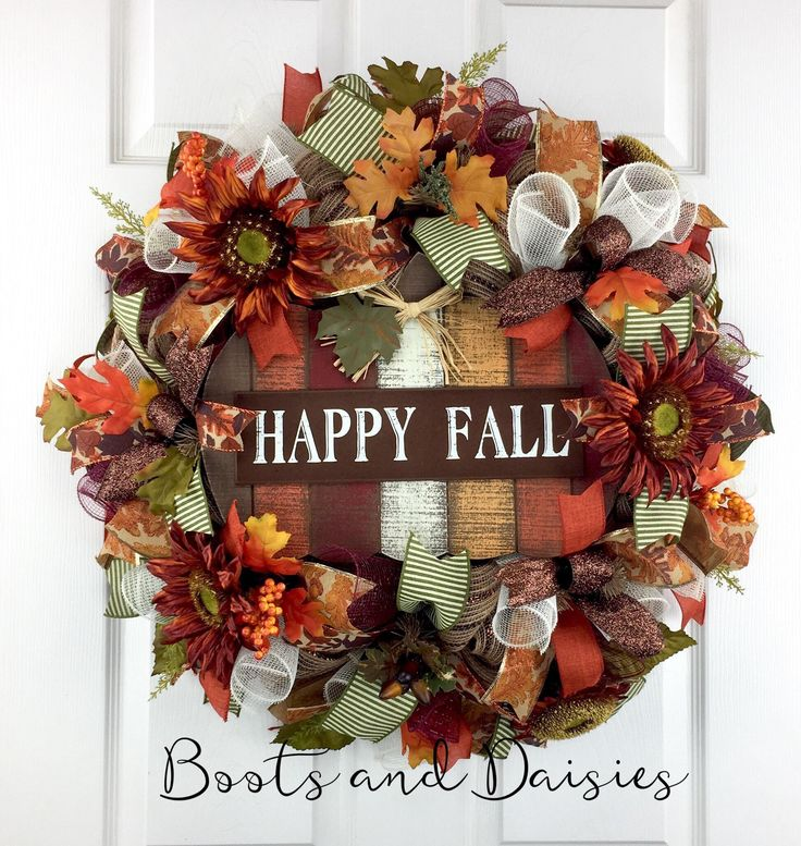 Fall Mesh Wreath door decor / Thanksgiving Mesh Wreath / Harvest Mesh Wreath / Happy Fall Wreath / Rustic Mesh Wreath / Pumpkin Wreath by BootsAndDaisiesDecor on Etsy