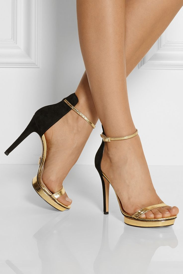 Michael Kors|Doris cracked metallic leather and suede sandals|NET-A-PORTER.COM