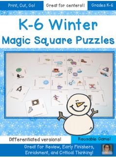 FREE K-6 Winter Vocabulary Game   Work on winter vocabulary with these FREE puzzles! They're differentiated so choose the option that works best for your Kindergarten 1st 2nd 3rd 4th 5th or 6th grade classroom or homeschool students!  Click the picture to grab your FREE download directly from Teachers Pay Teachers!  Thanks for looking!  Heather aka HoJo  3-5 December HoJo January literacy centers Magic Squares PK-2 vocabulary winter Winter Vocabulary