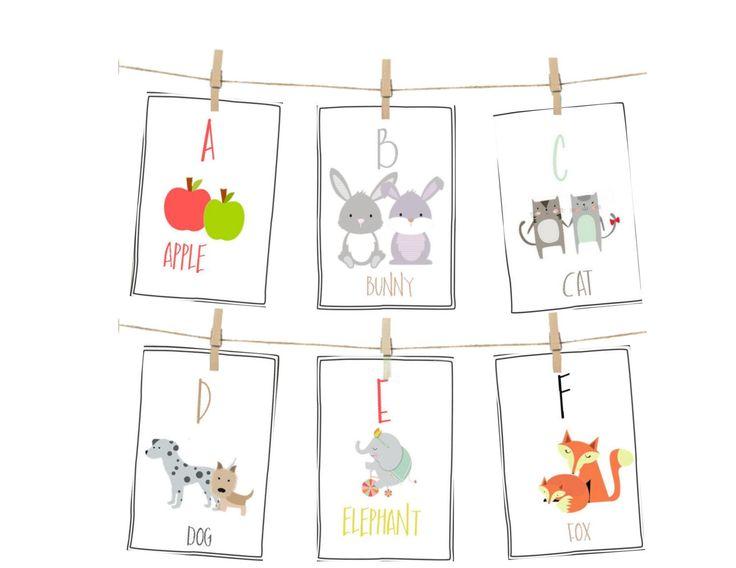ALPHABET CARDS, PRINTABLE alphabet, Alphabet flash cards, abc cards,alphabet art prints, letter wall art, kids art, kids cards,kids room by freckledandfair on Etsy https://www.etsy.com/listing/266030066/alphabet-cards-printable-alphabet
