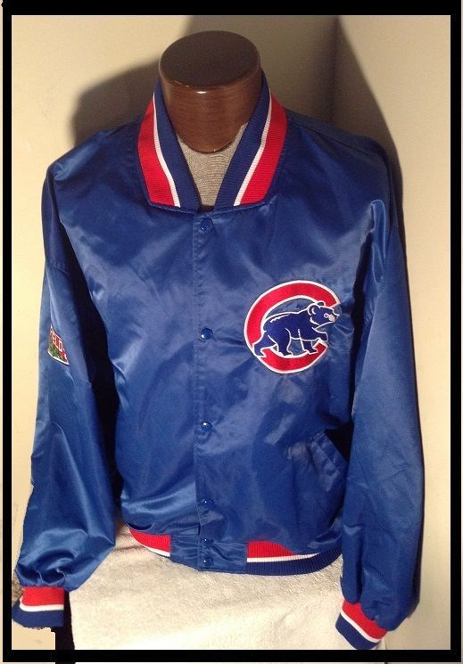 MINTY XXL CHICAGO CUBS JACKET Diamond Collection Blue STARTER SEWN SATIN #Starter #ChicagoCubs