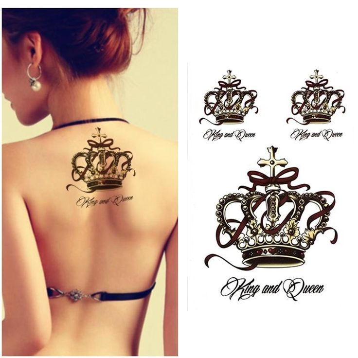 Aliexpress.com : Buy Black King Luxury Crown Tattoos Women Arm ...