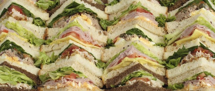 Gourmet Sandwiches No.2 Beautiful crustless sandwiches filled with Cajun Chicken, Roast Beef & Mustard and Turkey & Cranberry