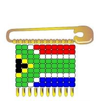 "South Africa Beaded Flag Pin SWAPs. No more struggling with coiled pins! Larger sized ""E"" beads make beaded pins easier. This is a great SWAP for Thinking Day. We have flag pin patterns for many countries including South Africa. Directions available at MakingFriends®.com"
