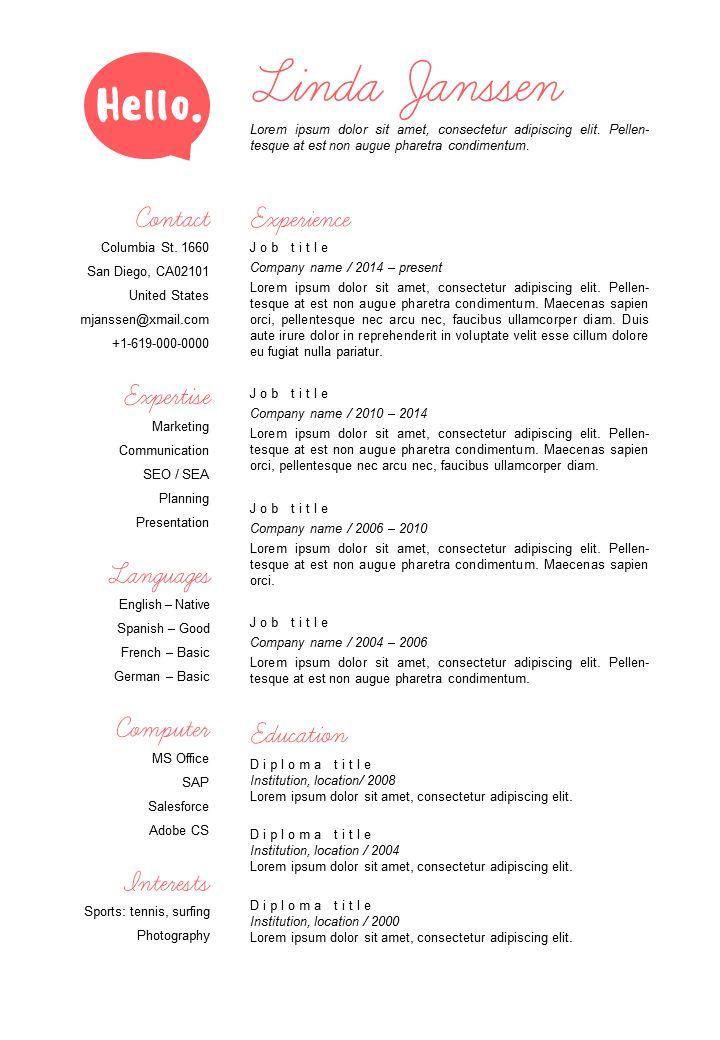 Best Go Sumo CV Templates Resume Curriculum Vitae Design - Est resume template