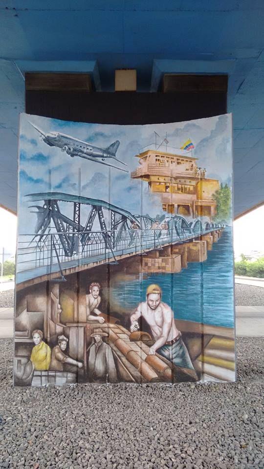 Cúcuta murales de gran formato que se encuentra en los muros de contención del puente elevadizo vía al aeropuerto,  trabajo de Yesux Vargas Acevedo y Samir Alberto con la dirección del maestro Lucho Brahim.