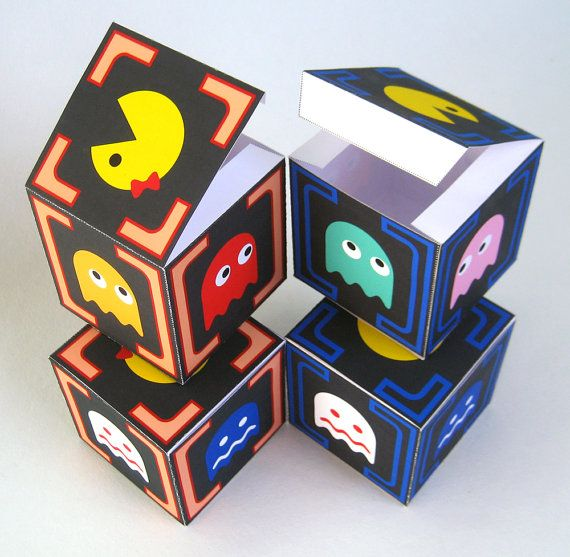 All 4 Pacman inspired gift boxes - relive the 80's - printable - instant download
