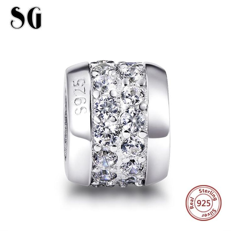 Fit Authentic Pandora Bracelets Silver 925 Original Middle White Zircon Charms Collect Beads Pendant Antique Jewelry Style Gifts