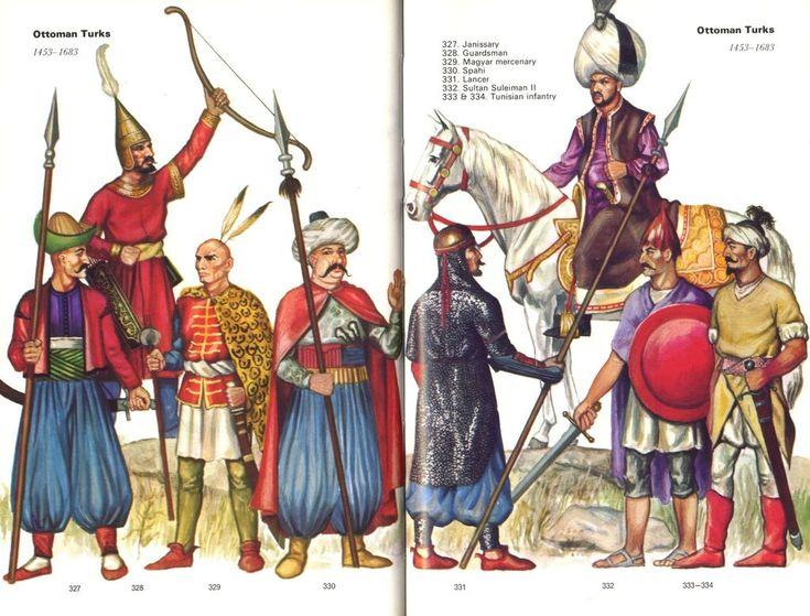 Ottoman Turks, 1453-1683:  327: Janissary;  328: Guardsman;  329: Magyar mercenary;  330: Sipahi;  331: Lancer;  332: Sultan Suleiman II;  333 & 334: Tunisian infantry