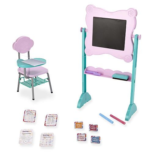 Go back to school with the Journey Girls Best in Class School Set! This exclusive set comes with a chair with a swivel desk and a really cool writeable chalkboard. Pass notes and keep track of your class schedule with your other Journey Girls pals. You can also have fun using your hall pass to travel from class to class! Great for ages 6 and up.<br><br>The Journey Girls Best in Class School Set features:<br><ul><li>3 pieces of colored chalk, 4 activity sheets, an...