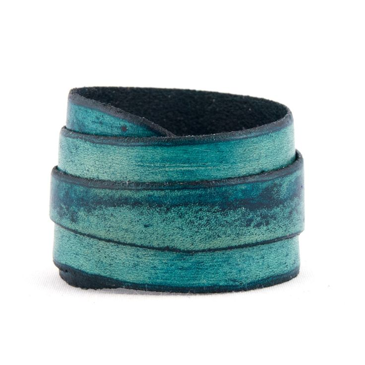 Beautiful blue dyed leather wrap cuff by Fehu Inc. Found at #MakeItEdmonton!