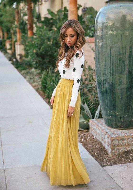 Yellow Plain Pleated Bohemian Maxi Skirt - Skirts - Bottoms