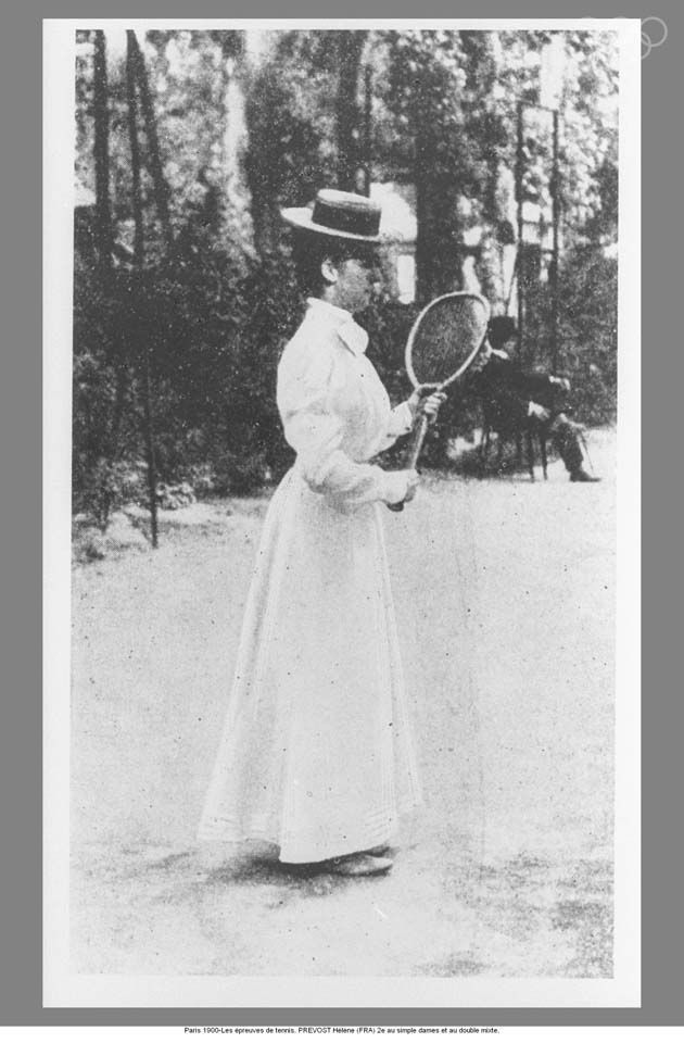 The first time women participate in the Olympic Games. Paris 1900-The tennis events. PREVOST Hélène (FRA) 2ndin ladies' single and mixed double.