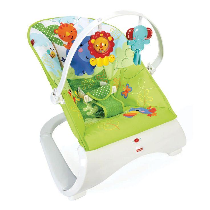 Fisher-Price Design Wipstoeltje (Rainforest Friends). Een modern wipstoeltje met rustgevende trillingen, een comfortabel zitje en leuke speeltjes. Leuk en rustgevend stoeltje voor baby en een modern nieuw ontwerp voor mama! Dit fraai vormgegeven wipstoeltje is zacht en comfortabel en heeft rustgevende trillingen die baby kalmeren. Met aan de verwijderbare speelgoedstang twee diervriendjes voor baby om mee te spelen. Goed voor de ontwikkeling van de motorische vaardigheden en de…