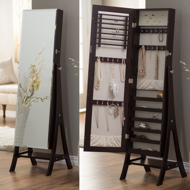 Belham Living Large Standing Mirror Locking Cheval Jewelry Armoire - Espresso - GH15970 NO KNOB