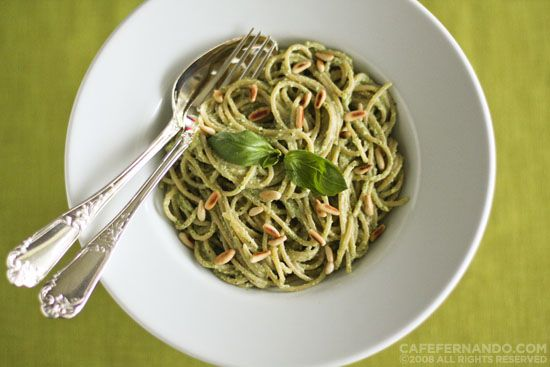 Whole Wheat Spaghetti with Almond Pesto Sauce