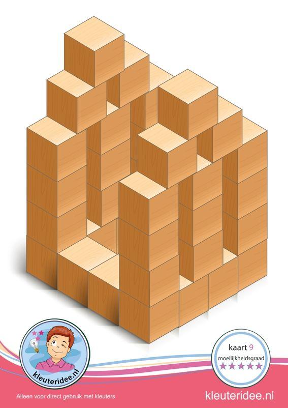 Bouwkaart 9 moeilijkheidsgraad 5 voor kleuters, kleuteridee, Preschool card building blocks with toddlers 10, difficulty 5, free printable.