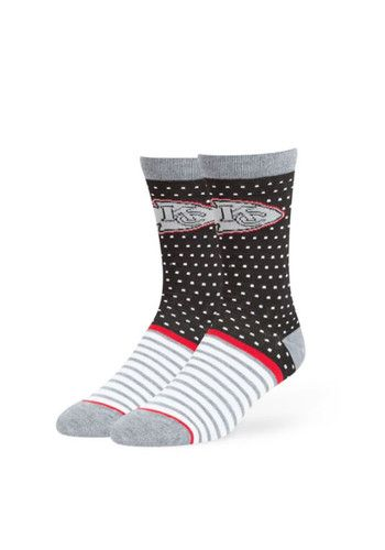 These Kansas City Chiefs Black Willard Mens Dress Socks add a great touch of Chiefs style to your business attire. These Mens Dress Socks feature a team logo on the calf with festive dot and stripe patterns.