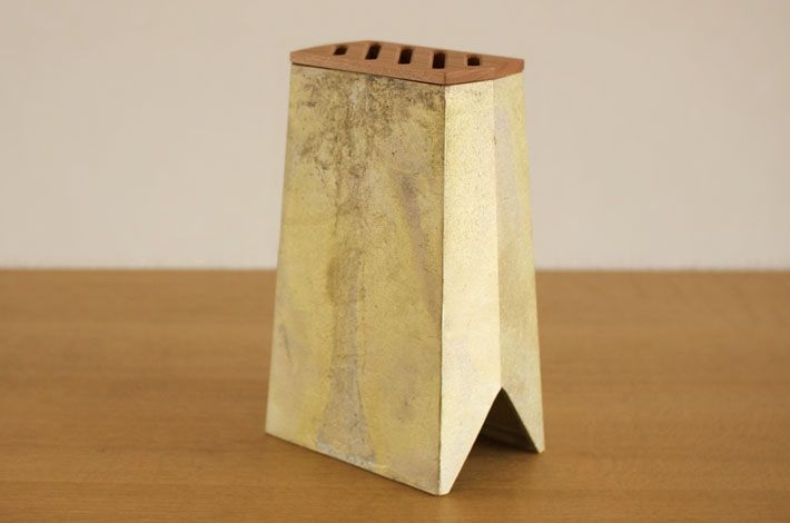 brass knife stand - wooden top can be taken off, so maybe doubling as a vase? FUTAGAMI