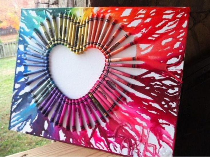 Foto: Cooles Bild mit Wachsmalstiften einer Leinwand und einem Fön machen. Veröffentlicht von Kunstfan auf Spaaz.de