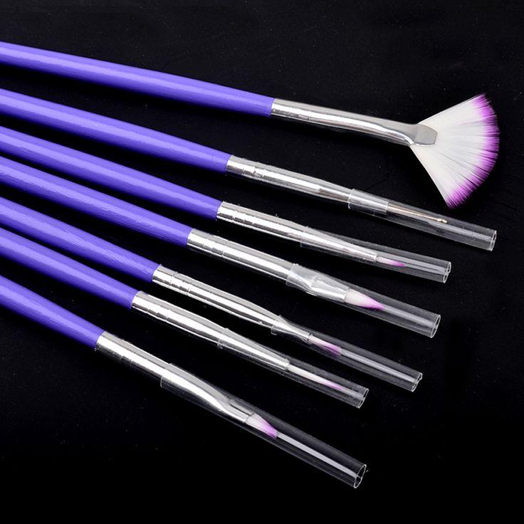 New 7pcs/set Purple Nail Art Design Brush DIY Painting Drawing Brushes Pen Set Manicure Tools