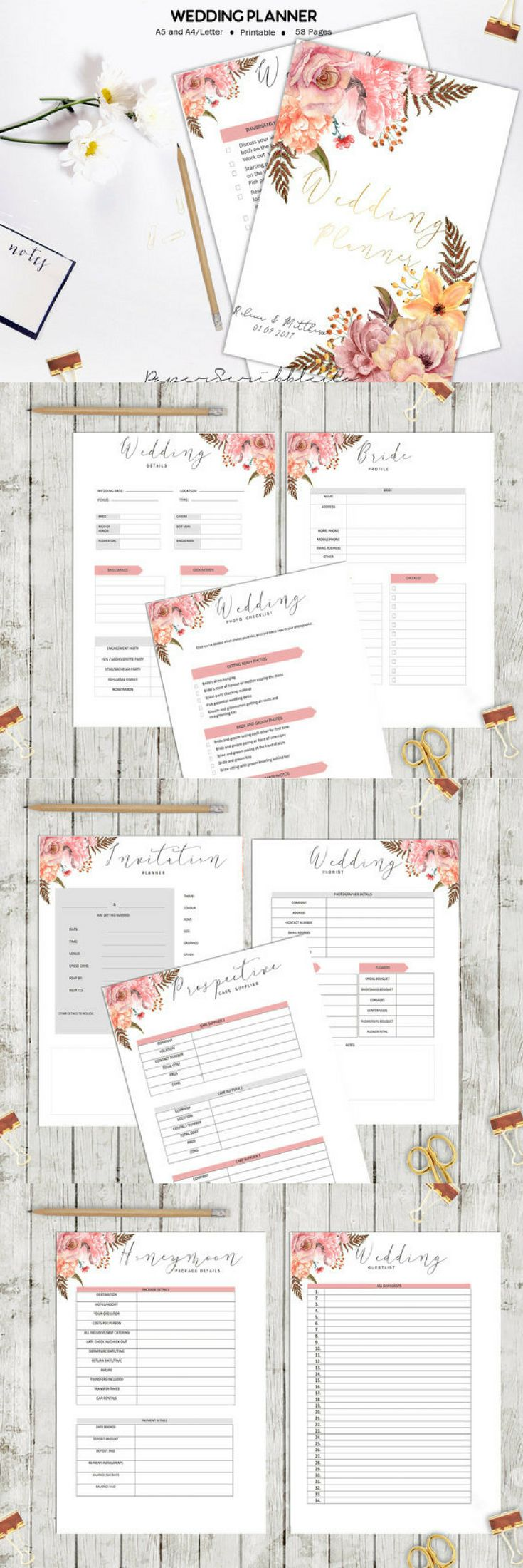 Wedding Planner | Printable Wedding Organiser | Wedding Binder | Wedding Book | Printable Wedding | DIY Wedding | Printable Planner #ad #weddings #weddinginspiration #weddingplanner #weddingplanning #planner #planning #planneraddict #plannerlove #plannercommunity #plannergirl #printable #download #downloadandprint #pdf