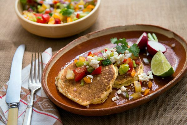 Fresh Corn Griddle Cakes With Spicy Salsa | New York Times: Griddle Cakes, Cook, Fresh Corncakes, Bread, Food, Corn Cakes, Spicy Salsa Recipes