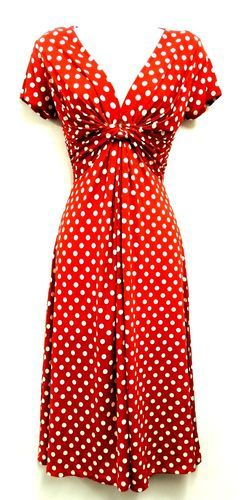 New Slinky Ladies Vtg WW2 Land girl 1940s/50s Polka Dot Pin-up Swing Tea Dress | eBay