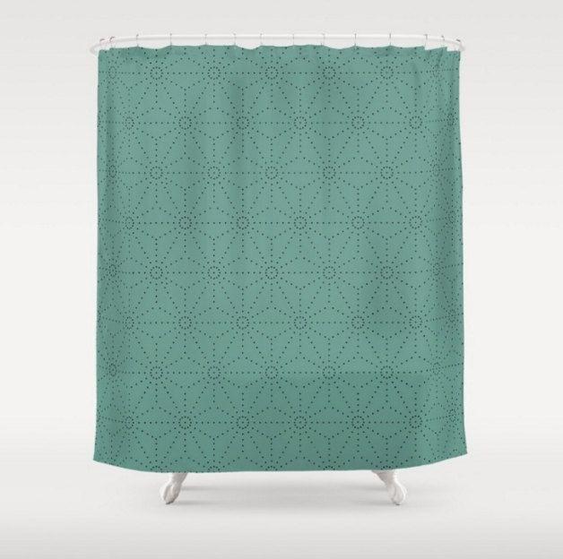 Mid Century Modern Shower Curtain Light Teal Shibori Pattern Green Blue