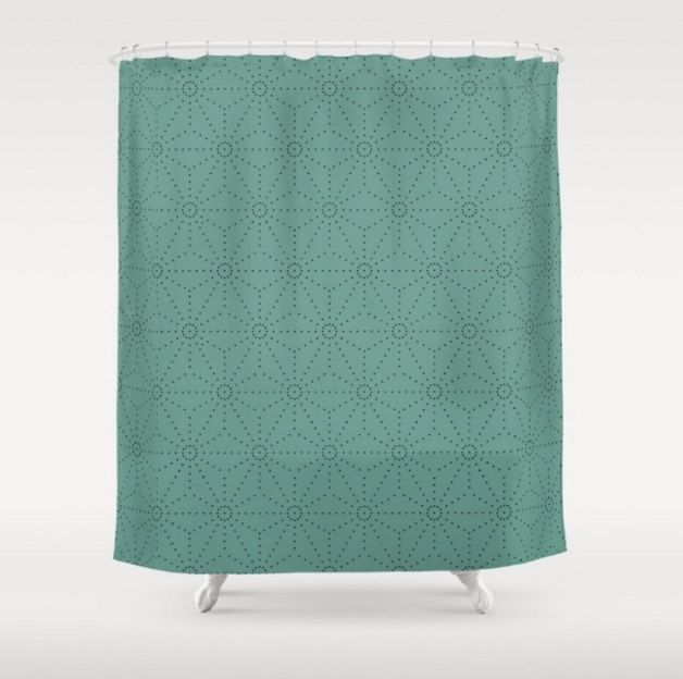 Mid century modern shower curtain Light teal shower curtain Shibori pattern Light green blue shower curtain Blue grass Contemporary bath by JulieMcDowellDesigns on Etsy