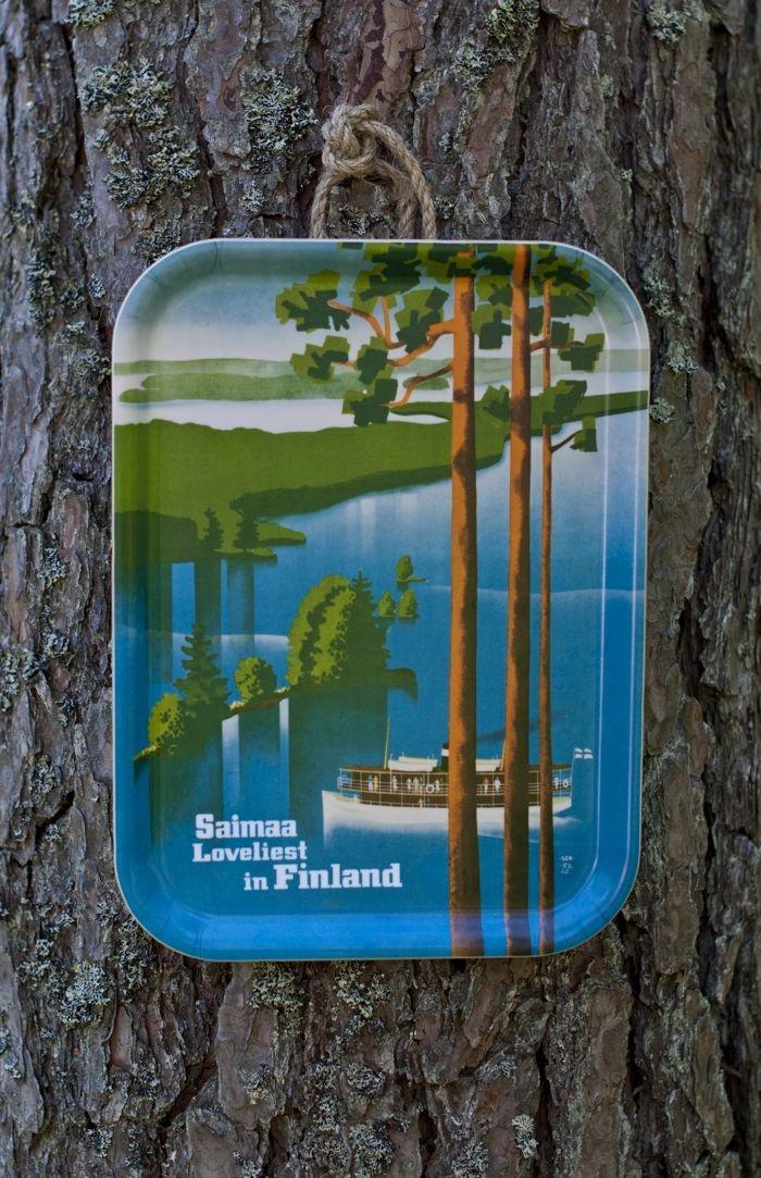 saimaa tray, illustration by paul söderström and göran englund (1939), tray design by maria kvickström