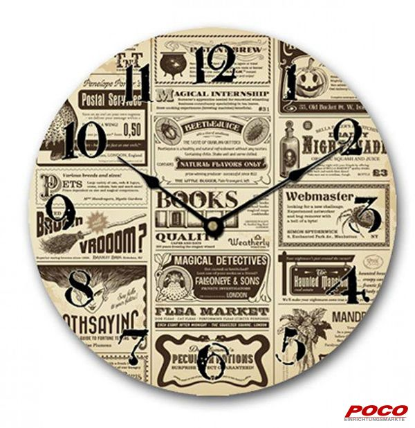 Wanduhr mit Zeitungs Design. Die Uhr ist auf einer MDF Holzplatte und hat einen Durchmesser von ca. 29 cm.