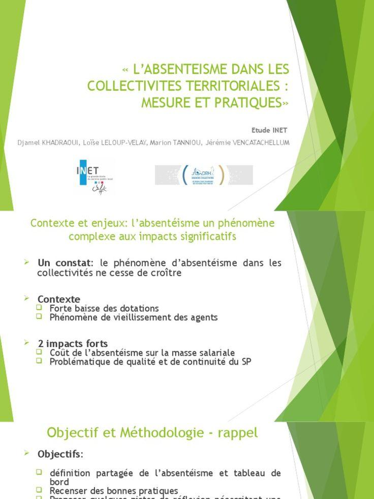 En préambule à la table ronde du Club RH du 19 mai à Aix-en-Provence, Jérémie Vencatachellum, élève administrateur territorial de l'INET, a présenté les conclusions d'une étude sur l'absentéisme réalisée, avec trois autres élèves, pour le compte de l'Association des DRH des grandes collectivités (ADRH GCT).