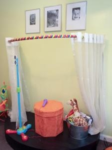 """What a great idea! Use a curved shower curtain rod and whimsical curtain to create a stage or """"hideaway"""" in the playroom! @melaniestraight"""