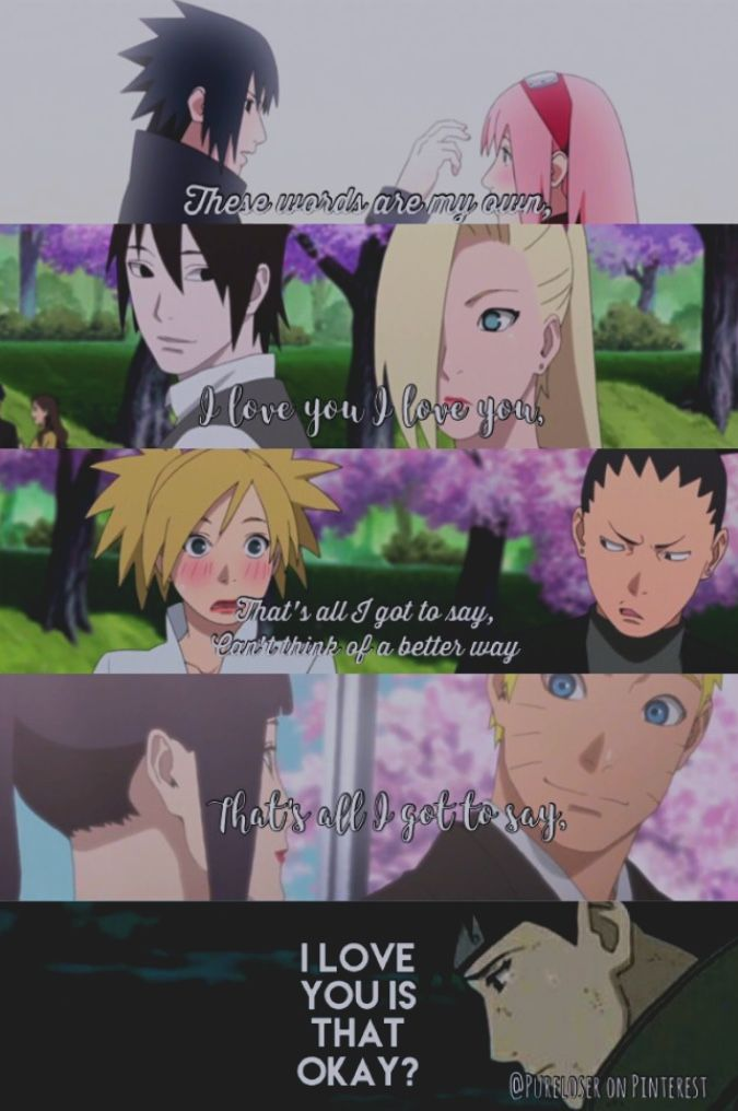 """[MADE BY @PURELOSER ON PINTEREST] // song lyrics collage; song by Natasha Bedingfield the song """"These Words."""" // I honestly hate SasuSaku, but I put Naruto couples here to represent that Neji shouldn't had died. Neji is my favorite anime character and he deserved to live and have kids with Ten-Ten for the next generation // [tags] Naruto , Neji , sad , quotes , these words , ino , sai , saiino , sasusaku , cute , lyrics , song , Love , anime , Japan , cosplay , manga , Sarada , sasuke…"""