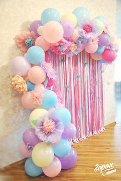 Beautiful balloon backdrop in pastel colors.