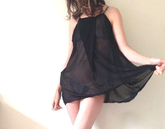 2015 Black Mini Dress Beach Dress Under 60 Little by AntAtHome
