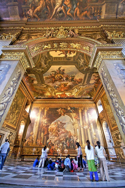 "Painted Hall ~ is often described as the""finest dinning hall in Europe"", Old Royal Naval College in Greenwich, London by Nick.Garrod"