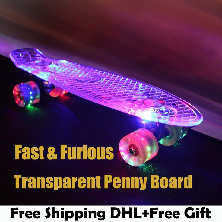 buy green transparent peny board skateboard complete retro cruiser mini longboard skate fish long board #speed #skating