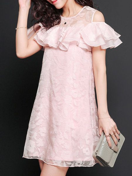 Pink Ruffled Polyester A-line Sweet Mini Dress