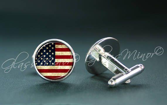 USA Flag Cufflinks, United States Flag Cufflinks, American US Flag Cufflinks, Groomsmen Usher Cufflinks, Wedding Cufflinks, Patriotic Gift