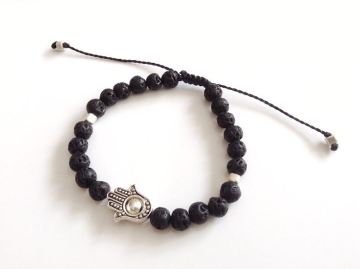 Hamsa men bracelet, men black bead bracelet, Hamsa Bracelet Black lava stone, bracelet black, men jewelry, Black Lava Rock Bracelet, for him