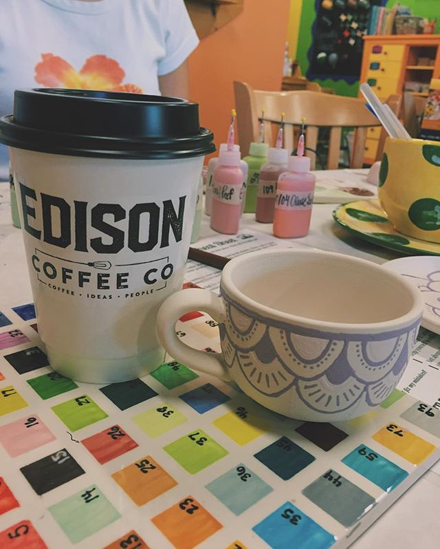 Sometimes the best coffee is necessary for completing your piece!   (Painted at Color Me Mine in Highland Village, TX)