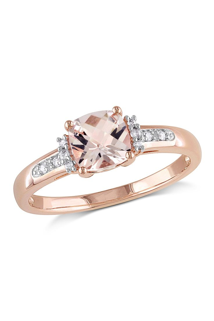 10k Rose Gold Cushion Cut Morganite Amp Diamond Ring On