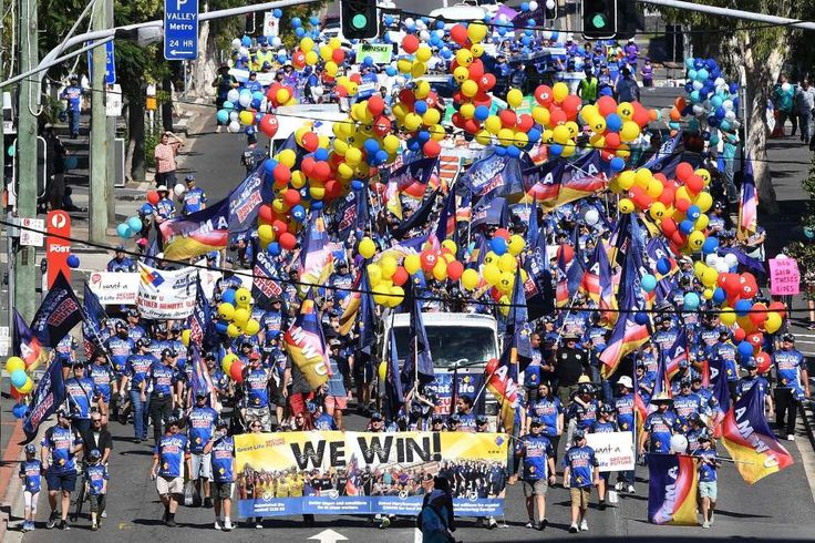May Day around the world  -  May 1, 2017:      Members of Queensland Unions take part in a march marking International Workers' Day (Labour Day) in Brisbane, Queensland, Australia, 01 May 2017. The annual holiday, marked on 01 May all over the world, celebrates the efforts of the labor union movement as well as the economic and social achievements of workers.